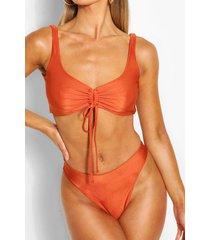 ruched crop high waist bikini, brown
