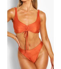 ruched crop high waist bikini, brown