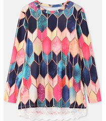 camicetta casual manica lunga patchwork in pizzo con stampa geometrica da donna