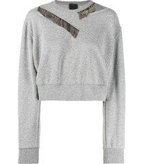 pinko crystal embellished sweatshirt - grey