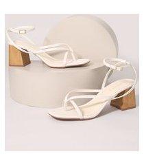 sandália feminina bico quadrado salto médio grosso oneself off white