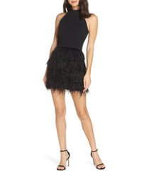 women's forest lily feather halter dress, size 4 - black