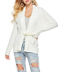 shawl collar belted cable knit cardigan