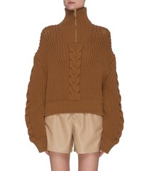 'eria' chunky cable knit half-zip sweater