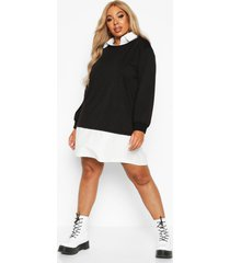 plus 2 in 1 shirt and sweater dress, black