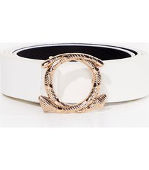 womens snake your time circle faux leather belt - white