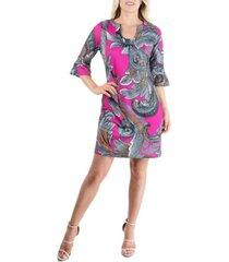 women's abstract print elbow sleeve tunic mini dress