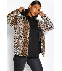 luipaardprint faux fur teddy jas met zak detail, meerdere