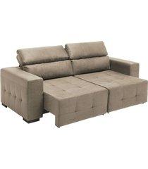 sofá 3 lugares reclinável e retrátil confiare arezzo, bege b271