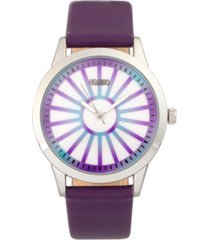 crayo unisex electric purple leatherette strap watch 41mm