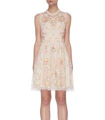 'isadora' floral ribbon embroidered sleeveless mini dress