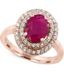 amore by effy certified ruby (1-9/10 ct. t.w.) and diamond (3/8 ct. t.w.) ring in 14k rose gold, created for macy's