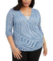 belldini plus size optic-striped cardigan