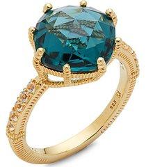 14k goldplated sterling silver & london blue & white topaz ring