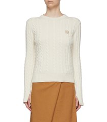 anagram embroidered cable knit sweater
