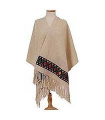 wool shawl, 'ivory light' (mexico)