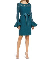 shani long sleeve lace sheath dress, size 6 in azure blue at nordstrom