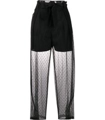 red valentino point d'esprit tulle belted pants - black