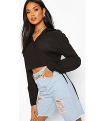 drawcord cropped woven shirt, black