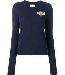 barrie cashmere embroidered logo sweater - blue
