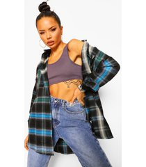 geruite oversized ombre blouse, blue