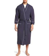 men's big & tall majestic international waffle knit robe, size 5xlt - blue
