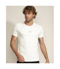 """camiseta masculina faith"""" texturizada manga curta gola careca branca"""""""