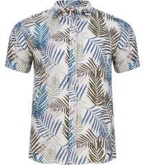 camisa estampada hojas color blanco, talla s