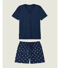 pijama plus size poá com cetim malwee liberta azul escuro - g1