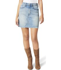 joe's jeans high-waist frayed-hem denim skirt