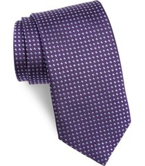 men's david donahue geometric dot silk tie, size regular - purple