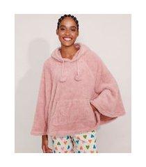 poncho em fleece com bolso capuz rosa