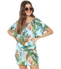 vestido cia.maritima curto amarração azul/verde