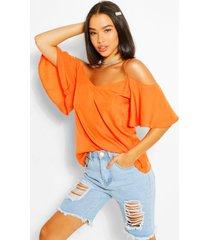 geweven hemdje met blote schouders, oranje