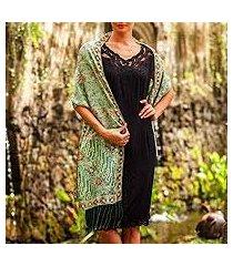 batik silk shawl, 'forest waves in moss green' (indonesia)