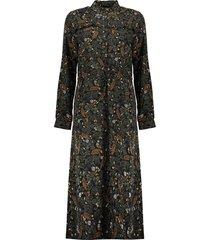 geisha 07623-20 999 jurk long leaves&flowers&ruffles black/amry combi
