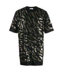 faith connexion camiseta com aplicação de paetês - preto