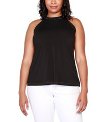 belldini black label plus size embellished chain-neck sleeveless halter top