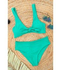 ribstof strik bikini set turquoise