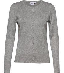 a8661, l/s cardigan r-neck stickad tröja cardigan grå saint tropez