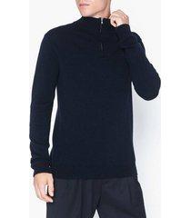 les deux cashmerino zipper knit tröjor dark navy