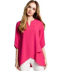 bluzka na zakładkę-różowa(m-359)