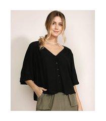 camisa feminina ampla manga 3/4 decote v com botões preta