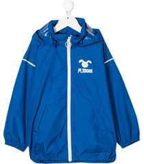mini rodini logo-patch zip-up jacket - blue