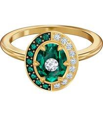 anillo con motivo black baroque, verde, baño en tono oro