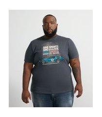camiseta manga curta com estampa carro corrida - plus size | marfinno | cinza médio | eg ii