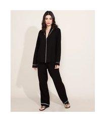 pijama feminino camisa com vivo contrastante manga longa preto