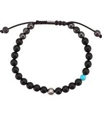 shamballa jewels 18kt black gold onyx and turquoise beaded bracelet