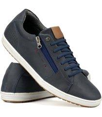 sapatenis couro tchwm shoes masculino moderno leve macio  azul marinho - kanui
