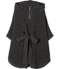 brunello cucinelli grey silk-cashmere-virgin wool poncho